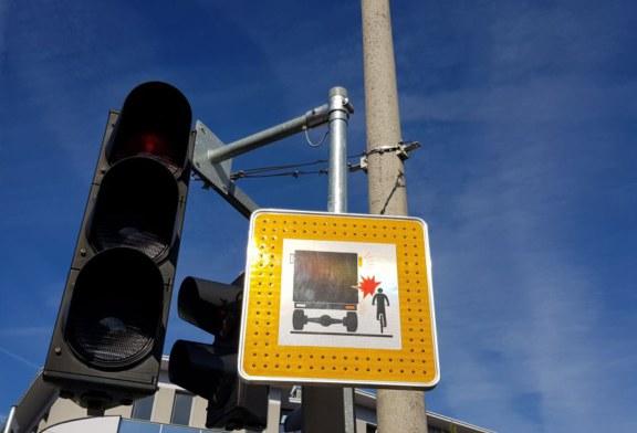 14.09.2019 AT Salzburg: Schutzmaßnahme für Radfahrer im toten Winkel von LKW's